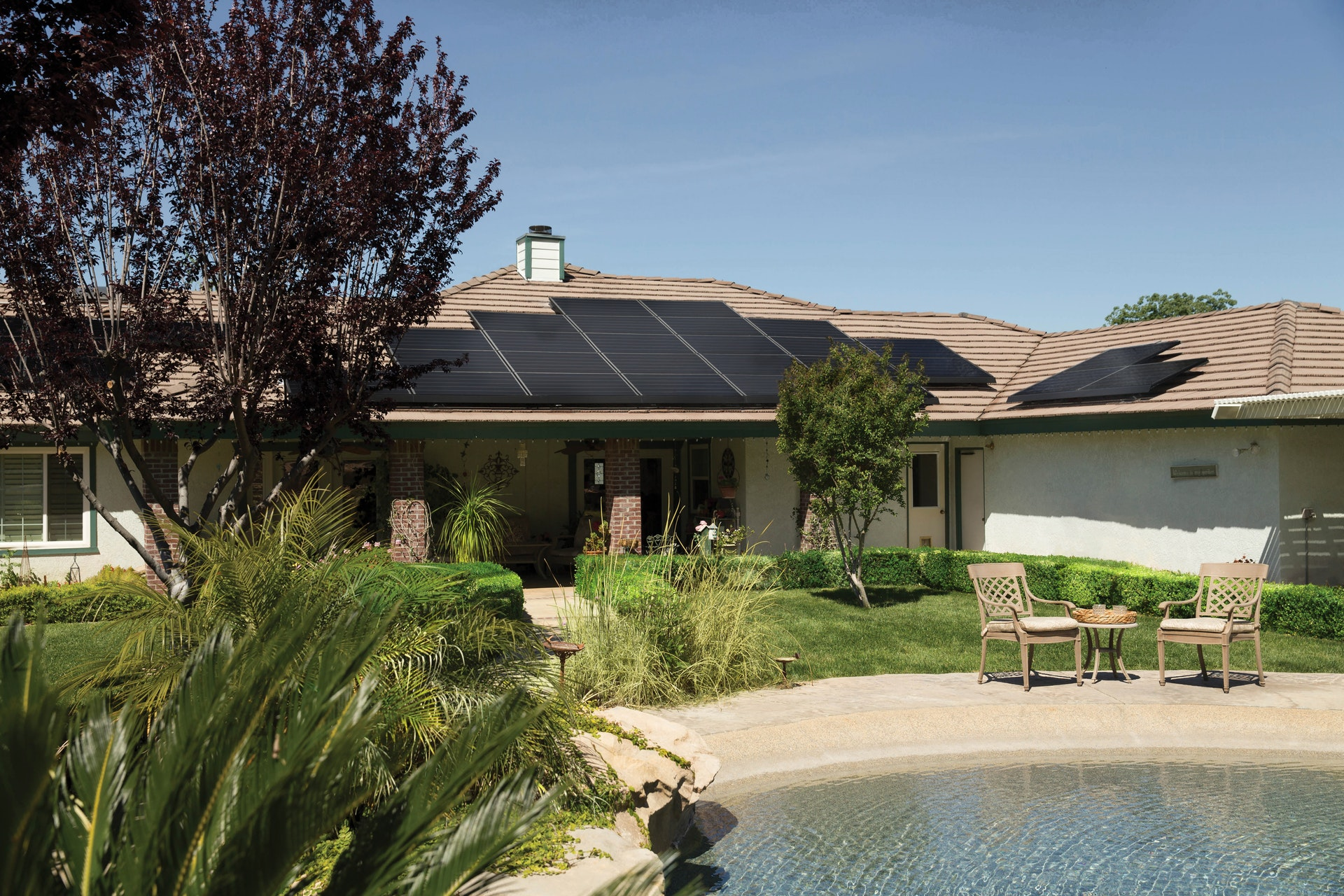 Black solar panels on roof of southern california home